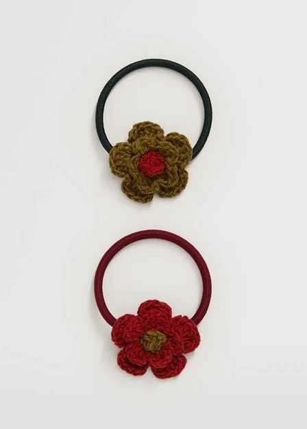 Mango - Red Pack 2 Flower Scrunchies, Kids Girl
