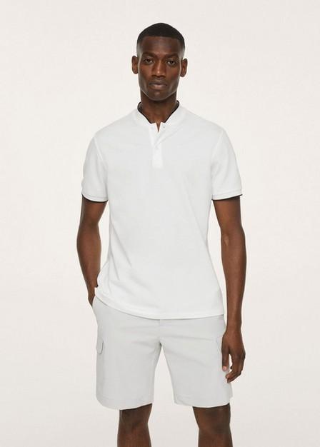 Mango - Natural White Mao Collar Cotton Polo, Men
