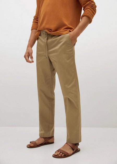 Mango - light beige Straight cropped cotton trousers, Men
