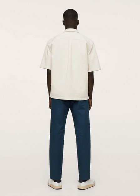 Mango - navy Straight cropped cotton trousers, Men
