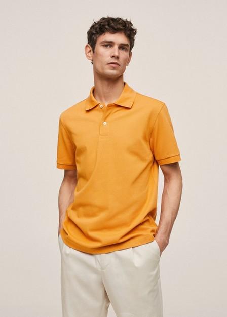 Mango - Orange Technical Cotton Pique Polo Shirt, Men