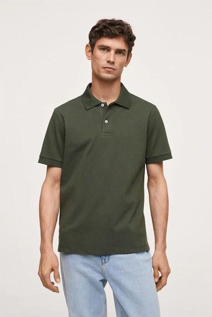 Mango - Beige - Khaki Technical Cotton Pique Polo Shirt, Men