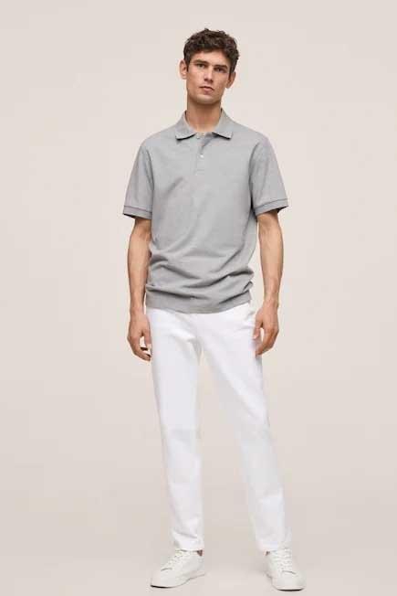 Mango - Medium Grey Technical Cotton Pique Polo Shirt, Men