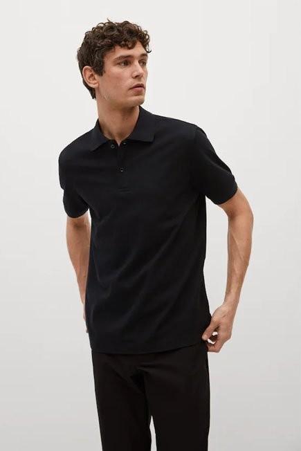Mango - Black Technical Cotton Pique Polo Shirt, Men