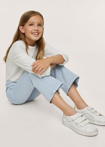 Mango - Medium Blue Flared Jeans, Kids Girl