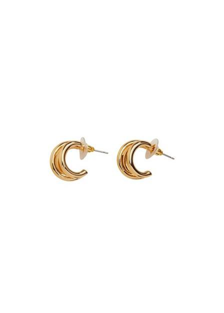 Mango - gold Metallic hoop earrings, Women
