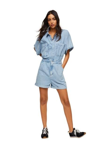 Mango - Open Blue Cotton Denim Jumpsuit, Women