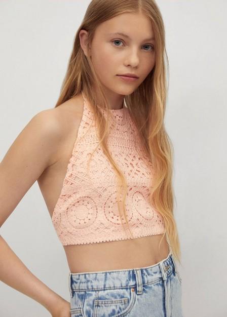 Mango - lt-pastel orange Halter neck crochet top, Kids Girl