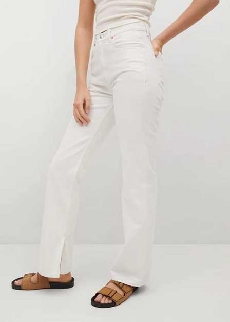 Mango - white Wide leg high waist jeans, Women
