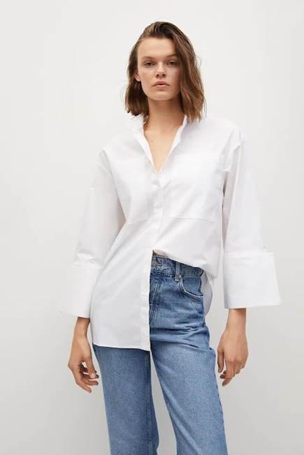 Mango - white Oversize cotton shirt, Women