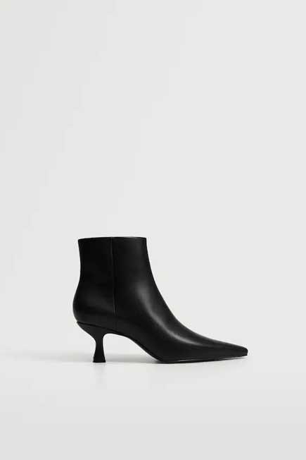 Mango - Black Pointed Heel Ankle Boot, Women