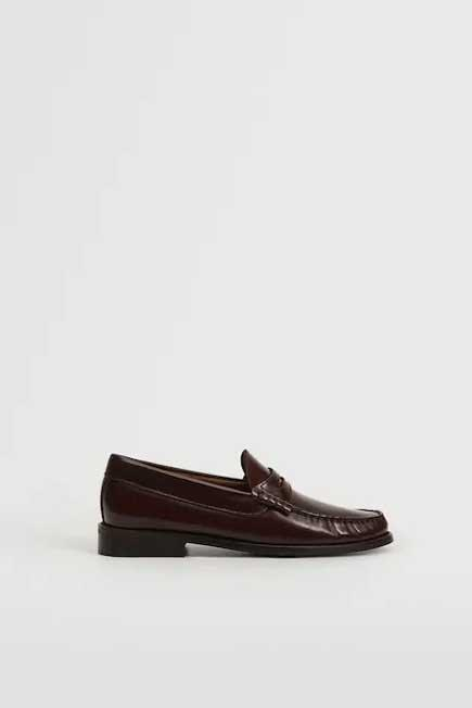 Mango - Dark Red Leather Penny Loafers, Women
