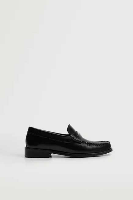 Mango - Black Leather Penny Loafers, Women