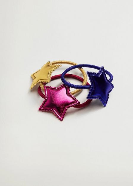 Mango - Bright Pink Star Hair Tie 3 Pack, Kids Girl