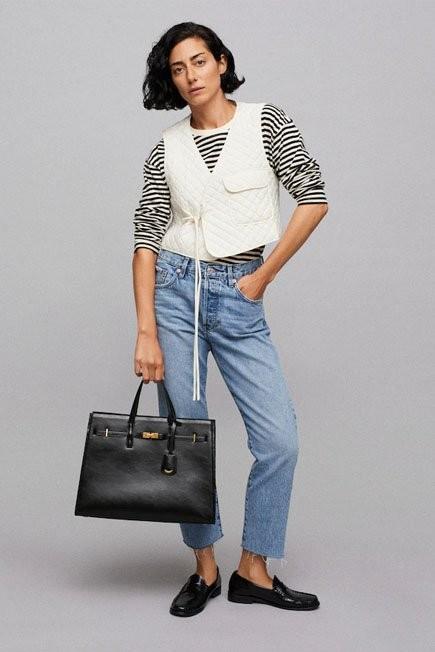 Mango - Black Pebbled Shopper Bag, Women