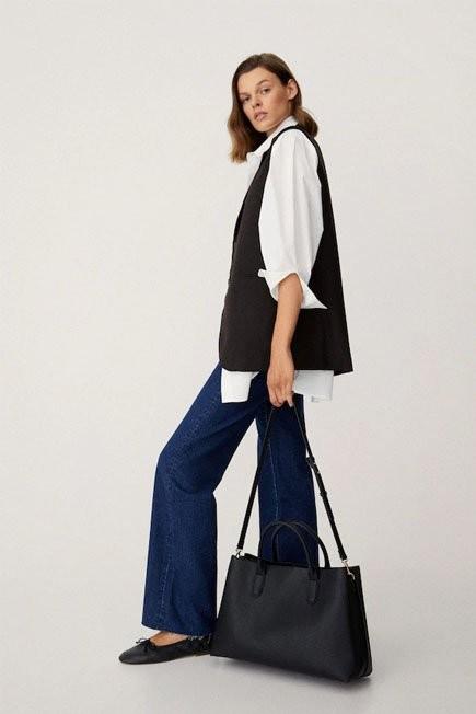 Mango - Black Shopper Bag With Handles, Women