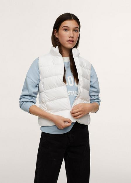 Mango - White Glossy Quilted Gilet, Kids Girl