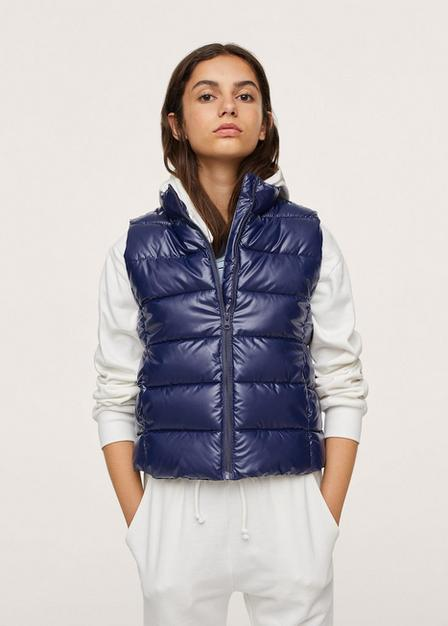 Mango - Navy Glossy Quilted Gilet, Kids Girl