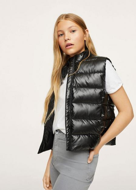 Mango - Black Glossy Quilted Gilet, Kids Girl