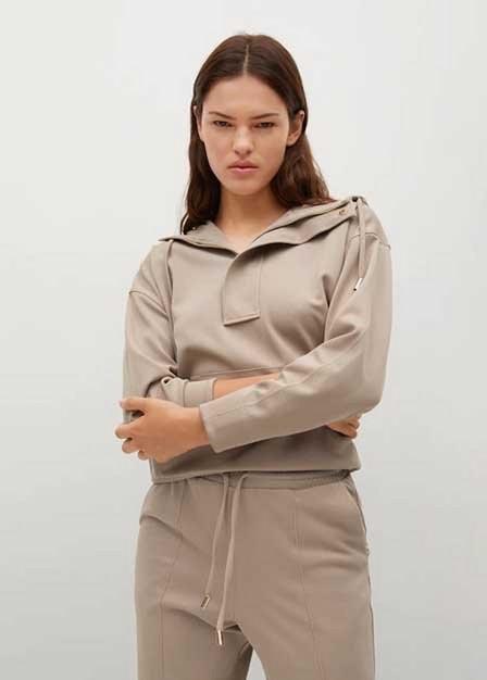 Mango - Lt-Pastel Grey Zipped Hoodie, Women