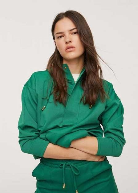 Mango - Dark Green Zipped Hoodie, Women