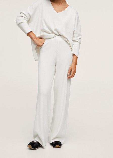 Mango - Light Beige Cotton Knitted Trousers, Women