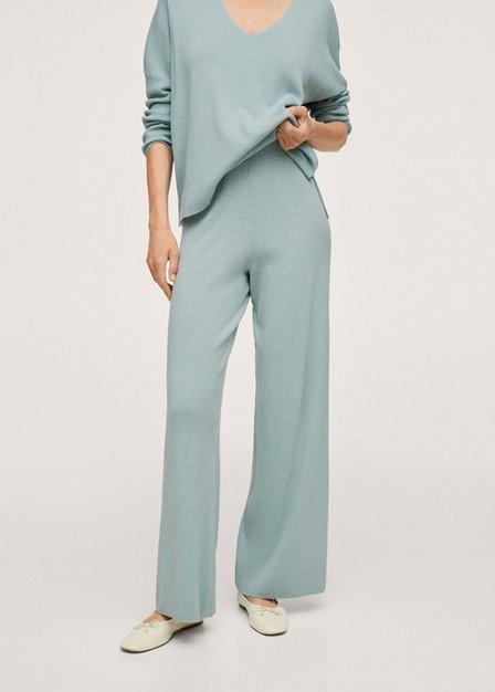 Mango - Turquoise - Aqua Cotton Knitted Trousers, Women