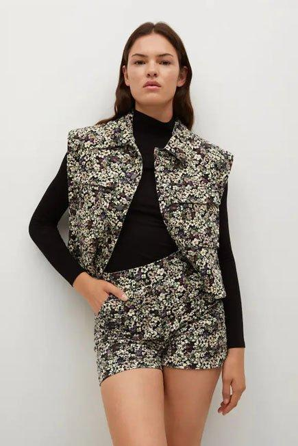 Mango - Black Cropped Printed Vest, Women