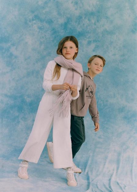 Mango - lt-pastel pink Fringes scarf, Kids Girl