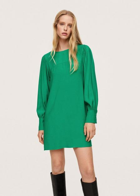 Mango - Green Puffed Sleeves Dress, Women