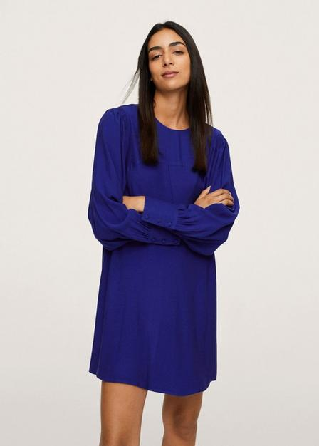 Mango - Medium Blue Puffed Sleeves Dress, Women
