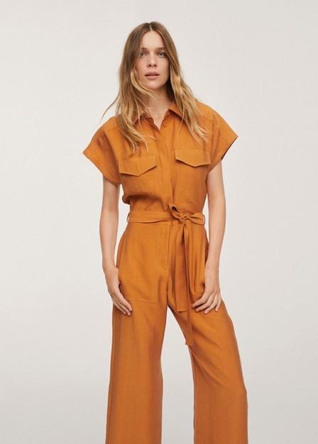 Mango - Medium Yellow Lyocell Belted Jumpsuit, Women