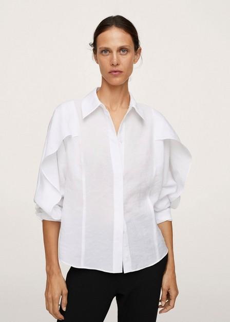 Mango - natural white Ruffle sleeves shirt, Women