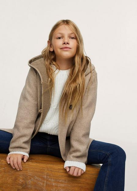 Mango - Light Beige Hooded Button Coat, Kids Girl
