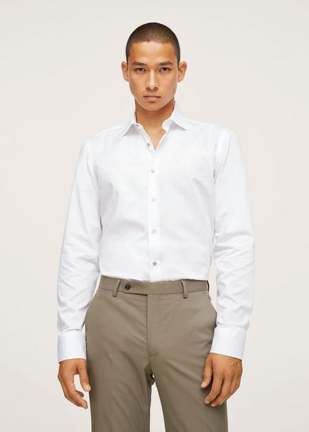 Mango - White Slim Fit Cotton Suit Shirt, Men