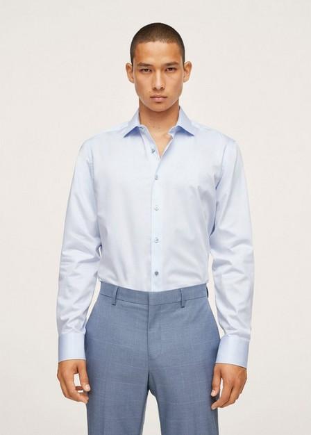 Mango - lt-pastel blue Slim fit cotton suit shirt, Men
