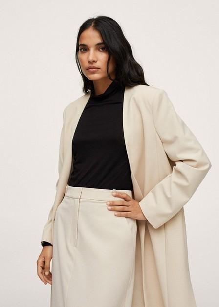 Mango - Light Beige Padded Shoulder Jacket, Women