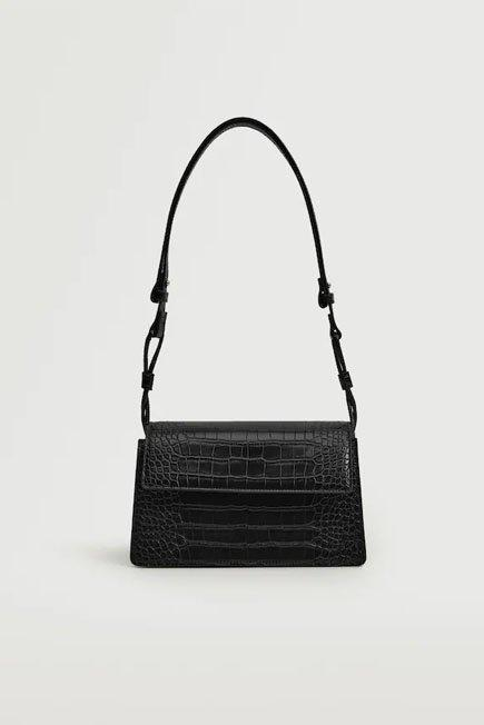 Mango - Black Croc-Effect Flap Bag, Women
