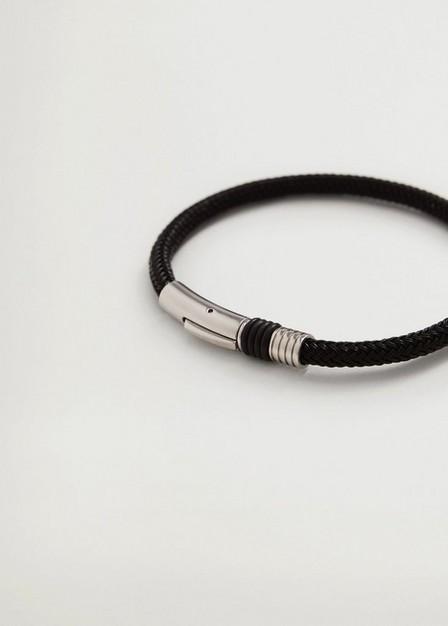 Mango - Black Braided Steel Bracelet, Men