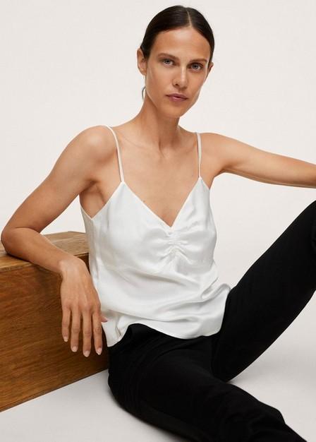 Mango - Natural White Satin Lace Top, Women