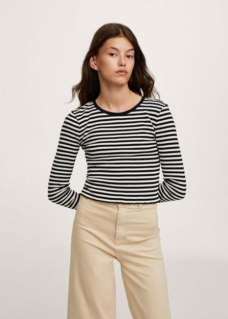 Mango - White Ribbed Long-Sleeved T-Shirt, Kids Girl