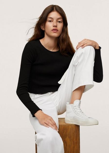 Mango - Black Ribbed Long-Sleeved T-Shirt, Kids Girl