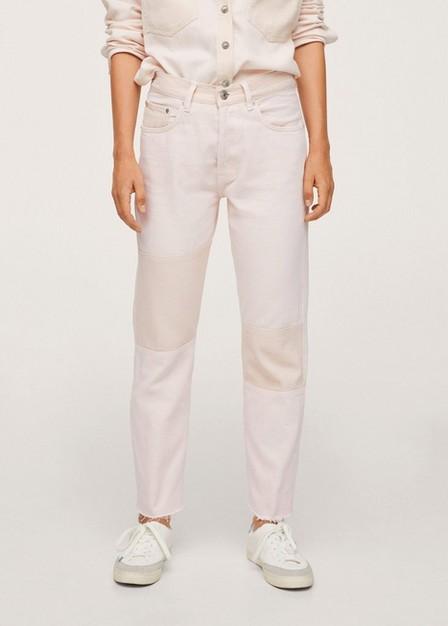 Mango - lt-pastel pink Contrast panels jeans, Women