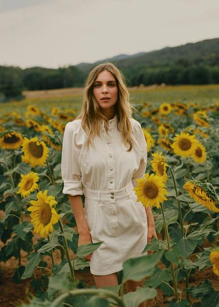 Mango - lt-pastel pink Denim dress with puffed sleeves, Women