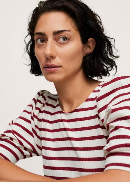 Mango - Dark Red Puffed Sleeves Ribbed T-Shirt, Women