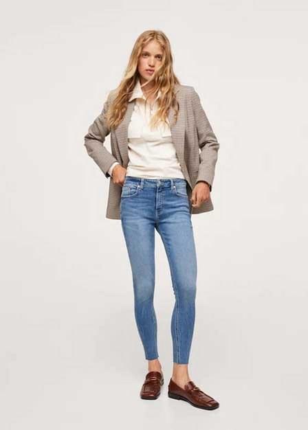 Mango - Open Blue Crop Skinny Isa Jeans, Women