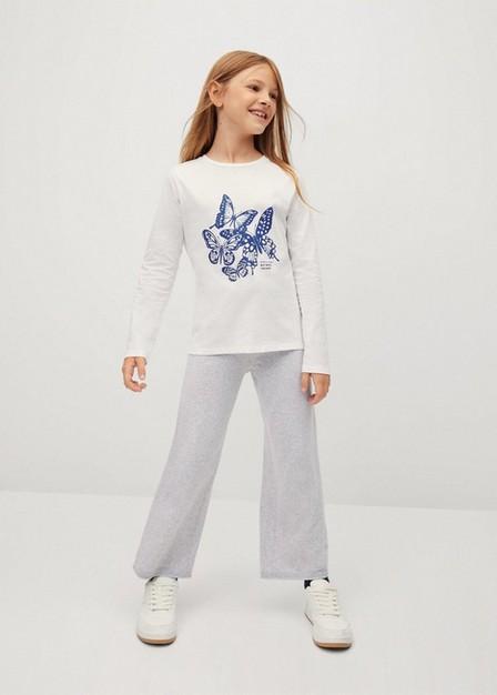 Mango - Natural White Printed Long Sleeve T-Shirt, Kids Girl
