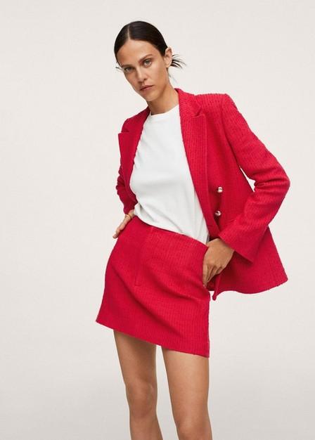 Mango - Red Cotton Tweed  Miniskirt, Women