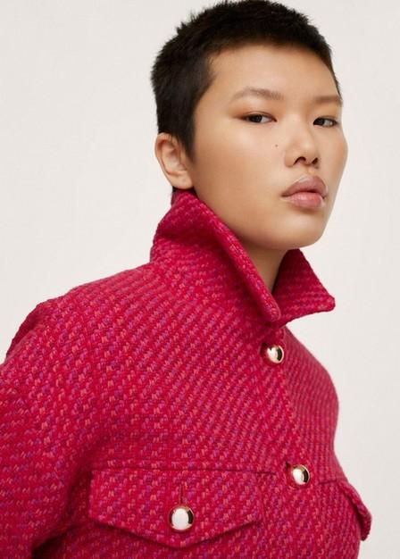Mango - Pink Crop Tweed Jacket, Women