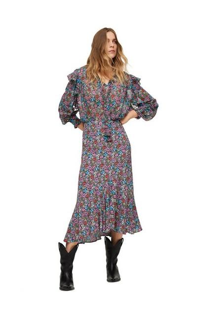 Mango - Black Floral Print Skirt, Women